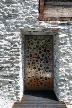 Stones Wall Metal Door Vetroz Switzerland - Germanier House In Vetroz Switzerland - Cottages Designs - Architecture Design Cool Doors, Unique Doors, The Doors, Entrance Doors, Doorway, Windows And Doors, Swiss Architecture, Interior Architecture, Contemporary Architecture