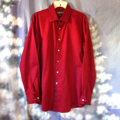 Kenneth Cole Reaction Men's long sleeve burgundy button down shirt size L 16 34/ #KennethColeReaction