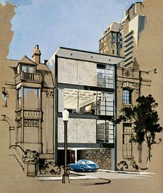 The Playboy Townhouse (1962)  (Design by R. Donald Jaye and rendering by Humen Tan)