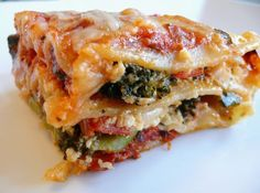 Vegetable Lasagna- OMG good!!!! Inlaws loved it!  added julienned fresh basil to top. Used locatelli pecorino romano instead of Parmesan cheese.  Added Italian seasoning, too.  No onions, added an extra clove garlic.  Used mushrooms, frozen bag of spinach thawed, green  squash, orange bell pepper, broccoli, carrots.