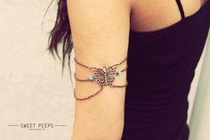 Butterfly Bronze Chain Armlet Slave Bracelet Arm by sweetpeepshere