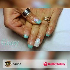 Tiffany & White by nailian via Nail Art Gallery #nailartgallery #nailart #nails #gel