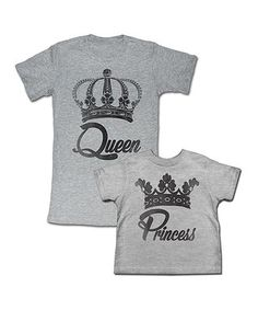 Gray 'Queen' Tee & 'Princess' Tee - Toddler, Girls & Women