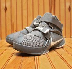 Nike Lebron Soldier IX 9 Size 2Y - Cool Grey White Wolf Grey - 776472 003 #Nike #BasketballShoes