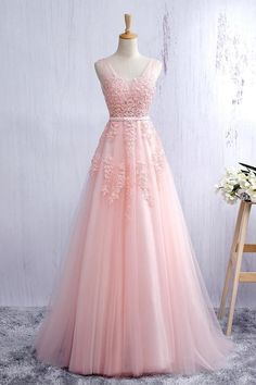 Lace applqiued pink tulle prom dress, long prom dress for teens