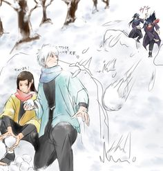 Snowball fight! with Hashirama, Tobirama, Madara and Izuna