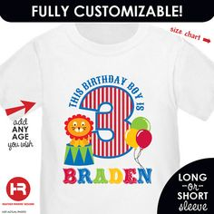 Circus Birthday Shirt Customized with by HeatherRogersDesigns
