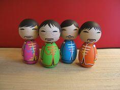 The Beatles Sgt. Pepper Custom Kokeshi doll set by temple7e, $160.00