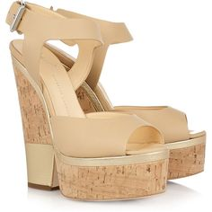 Giuseppe Zanotti Leather and cork platform sandals ($280) ❤ liked on Polyvore featuring shoes, sandals, wedges, heels, giuseppe zanotti, neutral, platform sandals, ankle strap sandals, nude wedge sandal and ankle strap wedge sandals