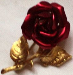 Red Rose Pin / Metal Flower / Gold Tone Leaves by outoftheattic2u