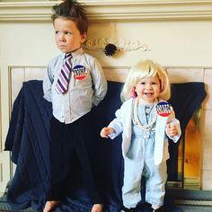 Boo!! Happy Halloween!  #presidentialcandidates2016 #forthewin #sorrynotsorry #wewentthere #toddlertrump #toddlerhillary #cutecostumes #halloween2016 #allingoodfun