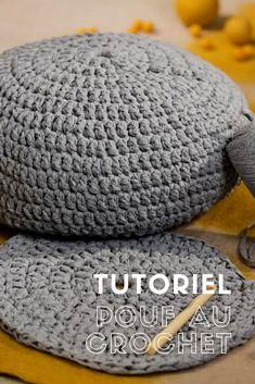 Crochet an ottoman / Tutorial to crochet a pouf Crochet Pouf Pattern, Knitted Pouf, Crochet Stitches, Crochet Ball, Crochet Diy, Crochet Home, Diy Pouf, Patron Crochet, Crochet Patterns For Beginners