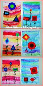 Με το βλέμμα στο νηπιαγωγείο και όχι μόνο....: Τα σχηματολούλουδά μας.Κολάζ και φύλλα εργασίας Art Lessons, Geometry, Art For Kids, Cube, Art Projects, Preschool, Abstract Art, Arts And Crafts, Shapes