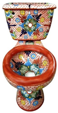 Brand new bath decor furnishings from Mexico ideal for any indoor remodeling or construction project.  You have a choice of purchasing talavera toilet alone or combining it with talavera sink and bathroom accessory set, whatever is needed to finish your Mexican talavera bathroom project.