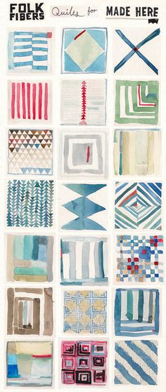 folk fibers sketches for quilts