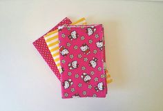 Hello kitty flannel and cotton burp cloth set.