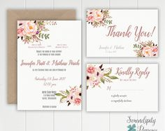 Are you dreaming of a beautifulwedding filled with flowers and gold elements? Well, youve come to right place, this Wedding Invitation might be just for you!    ===== WHAT YOU RECEIVE ===== This listing is for a PRINTABLE invitation SET the full package includes.  -5x7 wedding invitation(single sided) -4x6 Thank you card -4x6 Rsvp card -Personalization: with all your event information and color choice (text and background) **Please NOTE flowers colors cannot be changed**    ====== CUSTOM…