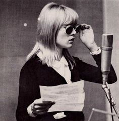 """""""sylvie-vartan:  Sylvie - recording a hit song, with her personally designed sunglasses.  """""""