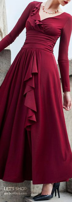 Différentes Wine Red Ruched Long Sleeve Swing Evening Dress