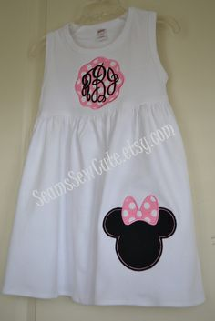 Hey, I found this really awesome Etsy listing at https://www.etsy.com/listing/121504180/monogrammed-pink-minnie-mouse-white