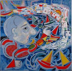 Μαρίνα Πετρή - Ο Καραγκιοζης στη Μυκονο Greek Art, Mykonos, Artist Art, Painters, Greece, Artsy, Gems, People, Image