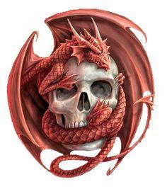 Red Skull Dragon | Second Life Marketplace - Wall Art - Orange Dragon Over Skull Shield ...