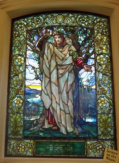 Detail of stained glass window created by Louis Comfort Tiffany in Arlington Street Church (Boston, Massachusetts) depicting the Sermon on the Mount. (2009 photo by John Stephen Dwyer)