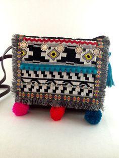 £44.82 Aztec Shoulder Bag, Bohemian Bag, Tribal Bag, Boho Bag, Ethnic Bag, Aztec Print Bag Gorgeous, one-of-a-kind, brown leather shoulder bag/cross body bag. Expertly upcycled with a handmade, Boho style, custom designed front panel.