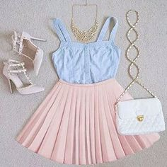 Summer party- the color is baby blue and light pink so complimentary colors. The shape/texture is pleated of the skirt. The skirt has a full form. The top has a natural form and is smooth. The lines are structural. overall this decreases size.