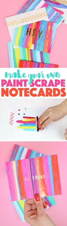 DIY art project idea - so easy and lots of fun - learn how to make paint scrape notecards.