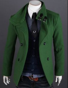Men's High Collar Double Breasted Coat...$49