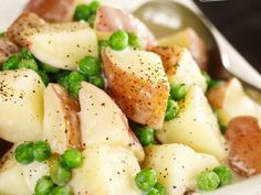 Creamed Peas and Potatoes are a versatile side dish with vibrant crisp peas and tender potatoes. Creamy comfort food at its finest! Pea Recipes, Sweet Potato Recipes, Side Dish Recipes, Vegetable Recipes, Cooking Recipes, Cheese Recipes, Vegetarian Recipes, Healthy Recipes, Potato Sides