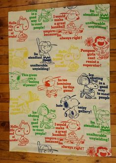 Vintage Peanuts TWIN flat sheet craft fabric material Snoopy Lucy Charlie Brown