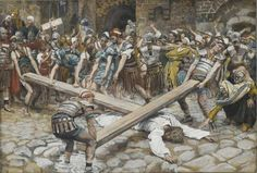 Station 8. Jesus Is Helped by Simon the Cyrenian to Carry the Cross — Stations of the Cross (Scriptural / Biblical), illustrated by James Tissot