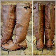 Riding boots have become very popular. They are super cute and go with almost every outfit! - Caroline m