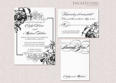 Black and White Wedding  Invitation. Peony Wedding Invitation Suite by encrestudio on Etsy, $3.50