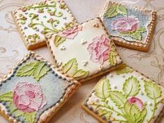 These cookies are stunning hand decorated brush embroidery flowers!