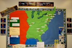 classroom door ideas social studies. This is cool, but I just got a really cool idea. Start with a blank outline of the US, and as you progress through history, add shapes to represent how much land we control at that time. I LIKE!