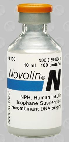 NPH insulin (or neutral protamine Hagedorn) (Humulin N, Novolin N, Novolin NPH, NPH Iletin II, & isophane insulin), is an intermediate-acting insulin. It is a suspension of crystalline zinc insulin combined with the positively charged polypeptide, protamine. When injected subcutaneously, it has an intermediate duration of action, meaning longer than that of regular insulin, and shorter than ultralente, glargine or detemir.