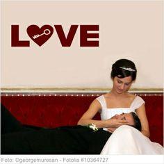 Wandtattoo Hochzeit - LOVE mit Herz