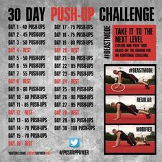 Day Push-Up Challenge! Gotta get my fitness and exercise in. because strong is the new sexy! 30 Day Push-Up Challenge! Gotta get my fitness and exercise in. because strong is the new sexy! Reto Fitness, Fitness Herausforderungen, Health Fitness, Fitness Shirts, Fitness Journal, Fitness Tracker, Fitness Workouts, At Home Workouts, Monthly Workouts