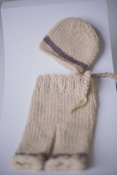 PROPS | Stephanie Resch Photography  Cream & Brown hand knit pants with matching cap (with tasseled sides): Newborn Knit Pants, Photography Props, Hand Knitting, Winter Hats, Baby, Cream, Brown, Creme Caramel, Photo Accessories