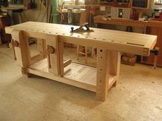 I always liked the look of my yellow pine Roubo-style workbench. That is, until last week. That's when I got a look at Jameel Abraham's version of a Roubo… Woodworking Tools For Sale, Essential Woodworking Tools, Woodworking Bench Plans, Popular Woodworking, Woodworking Projects, Sketchup Woodworking, Woodworking Patterns, Woodworking Magazines, Intarsia Woodworking