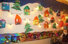 Light-Up Gingerbread Village -  Christmas Bulletin Board Idea.  idea from Red Colander blog