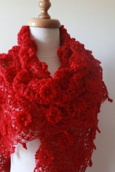 lovely red flower triangular shawl