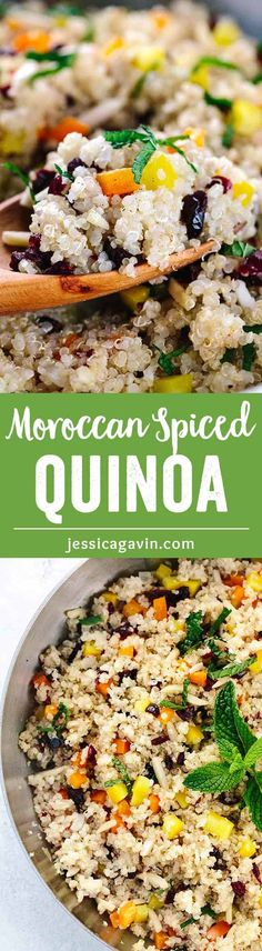 Moroccan Spiced Cranberry Almond Quinoa - A healthy side dish, that is quick and easy to prepare and packed with flavor! Cinnamon, mint, garlic, peppers and crunchy almonds add an exotic twist to a protein-rich quinoa. via @foodiegavin