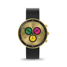 A modern British-designed men's chronograph watch. A brushed gold case with multicoloured chronograph subdials in contemporary colour. Interchangeable multicoloured canvas and black leather straps. Latest Watches, Men's Watches, Gold Stripes, Monte Carlo, Stainless Steel Case, Italian Leather, Chronograph, Black Leather, Contemporary