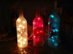 Sport frosted wine bottles with lights. Any by FraserWineArt San Francisco 49'er, dodgers, raiders