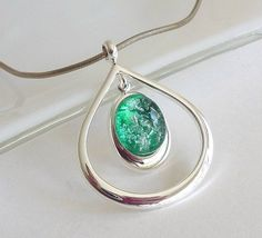 Fused Glass Pendant in Silver and Emerald Green
