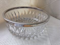 Glass Bowl with Chrome edge by karenslittlebluebarn on Etsy Large Glass Bowl, Serving Dishes, Punch Bowls, Chrome, Barn, Etsy, Serving Bowls, Barns, Shed
